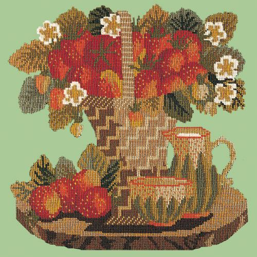 Strawberries Needlepoint Kit Elizabeth Bradley Design Pale Green