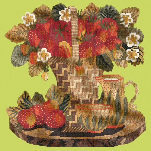 Strawberries Needlepoint Kit Elizabeth Bradley Design Pale Lime