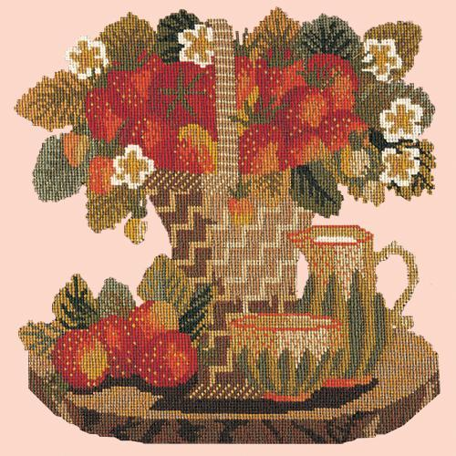 Strawberries Needlepoint Kit Elizabeth Bradley Design Salmon Pink