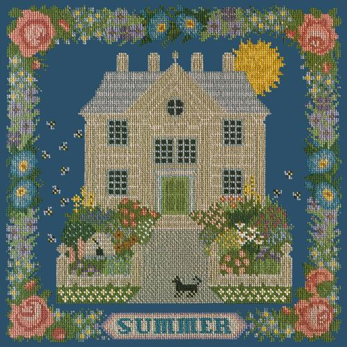 Summer Sampler Needlepoint Kit Elizabeth Bradley Design Dark Blue