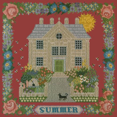 Summer Sampler Needlepoint Kit Elizabeth Bradley Design Dark Red