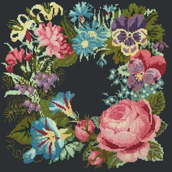 Summer Wreath Needlepoint Kit Elizabeth Bradley Design Black