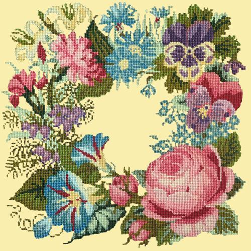Summer Wreath Needlepoint Kit Elizabeth Bradley Design Butter Yellow