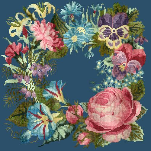 Summer Wreath Needlepoint Kit Elizabeth Bradley Design Dark Blue