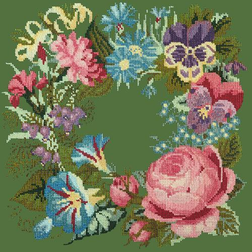 Summer Wreath Needlepoint Kit Elizabeth Bradley Design Dark Green