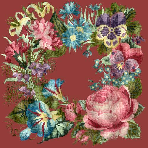 Summer Wreath Needlepoint Kit Elizabeth Bradley Design Dark Red