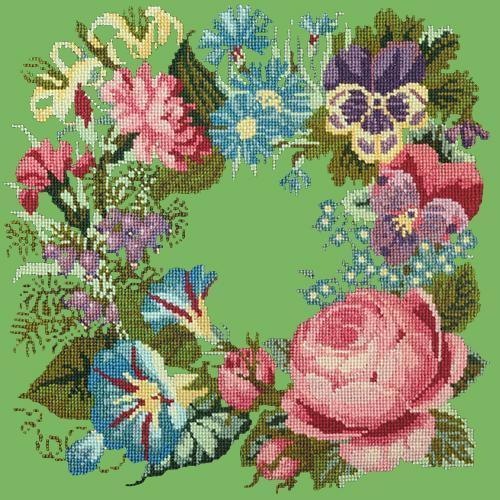Summer Wreath Needlepoint Kit Elizabeth Bradley Design Grass Green