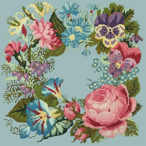 Summer Wreath Needlepoint Kit Elizabeth Bradley Design Pale Blue
