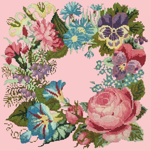 Summer Wreath Needlepoint Kit Elizabeth Bradley Design Pale Rose