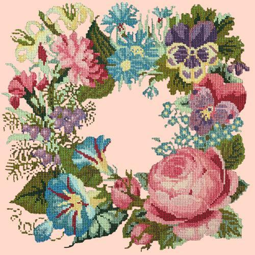 Summer Wreath Needlepoint Kit Elizabeth Bradley Design Salmon Pink