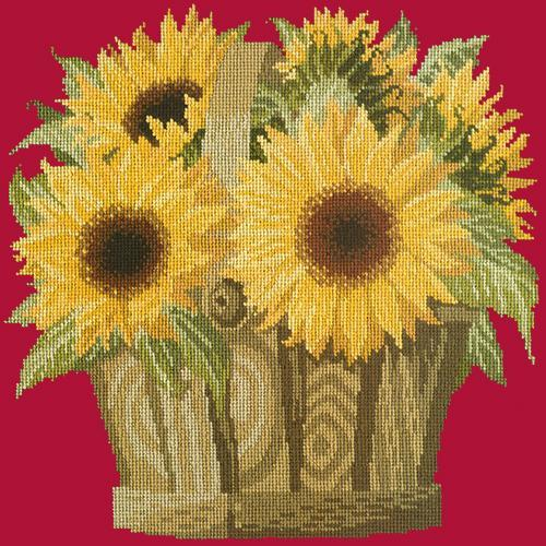 Sunflower Basket Needlepoint Kit Elizabeth Bradley Design Bright Red