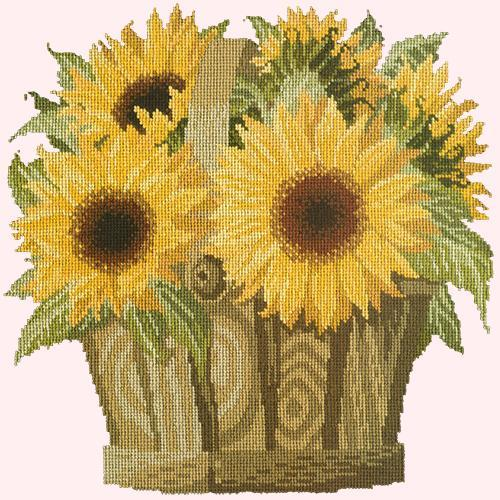 Sunflower Basket Needlepoint Kit Elizabeth Bradley Design Cream