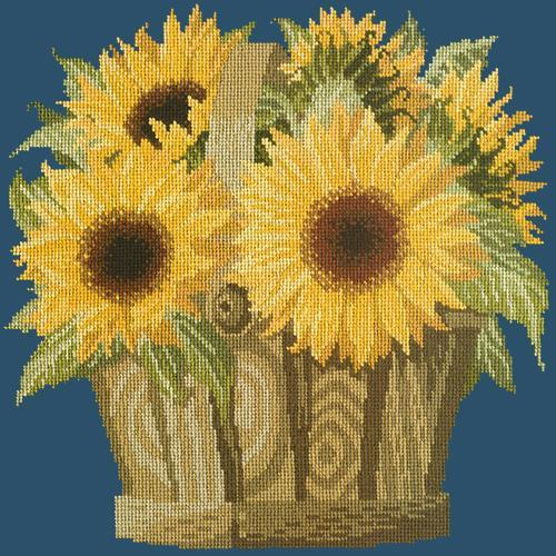 Sunflower Basket Needlepoint Kit Elizabeth Bradley Design Dark Blue