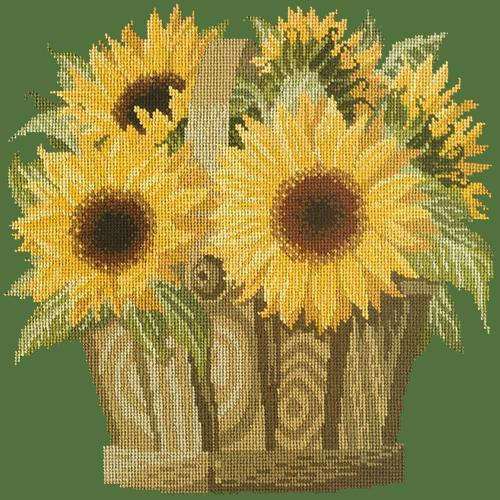 Sunflower Basket Needlepoint Kit Elizabeth Bradley Design Dark Green