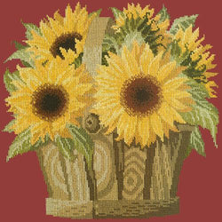 Sunflower Basket Needlepoint Kit Elizabeth Bradley Design Dark Red