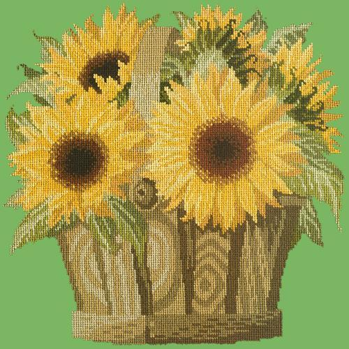 Sunflower Basket Needlepoint Kit Elizabeth Bradley Design Grass Green