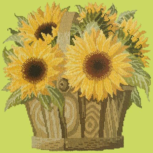 Sunflower Basket Needlepoint Kit Elizabeth Bradley Design Pale Lime