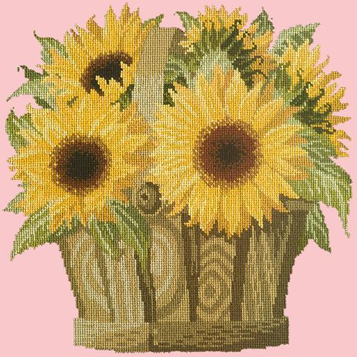Sunflower Basket Needlepoint Kit Elizabeth Bradley Design Pale Rose