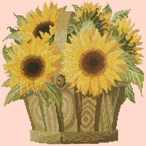 Sunflower Basket Needlepoint Kit Elizabeth Bradley Design Salmon Pink