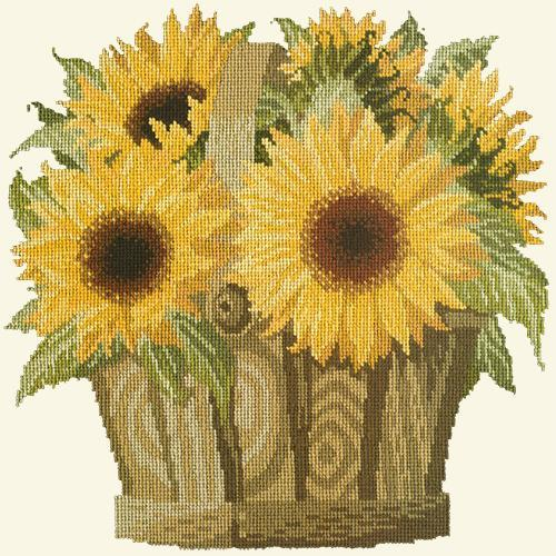 Sunflower Basket Needlepoint Kit Elizabeth Bradley Design Winter White