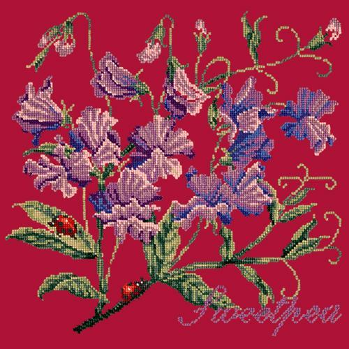 Sweetpea Needlepoint Kit Elizabeth Bradley Design Bright Red