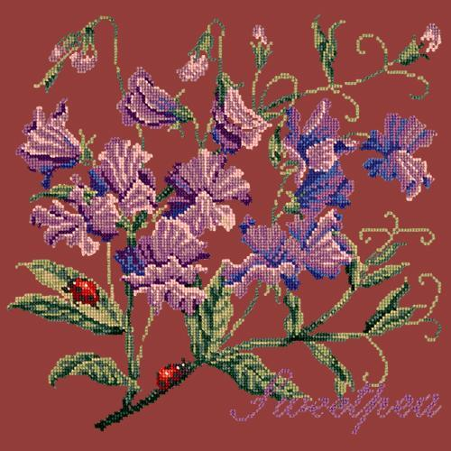 Sweetpea Needlepoint Kit Elizabeth Bradley Design Dark Red
