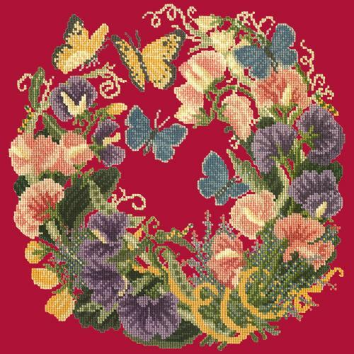 Sweetpeas Needlepoint Kit Elizabeth Bradley Design Bright Red