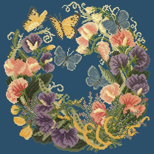 Sweetpeas Needlepoint Kit Elizabeth Bradley Design Dark Blue