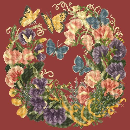 Sweetpeas Needlepoint Kit Elizabeth Bradley Design Dark Red