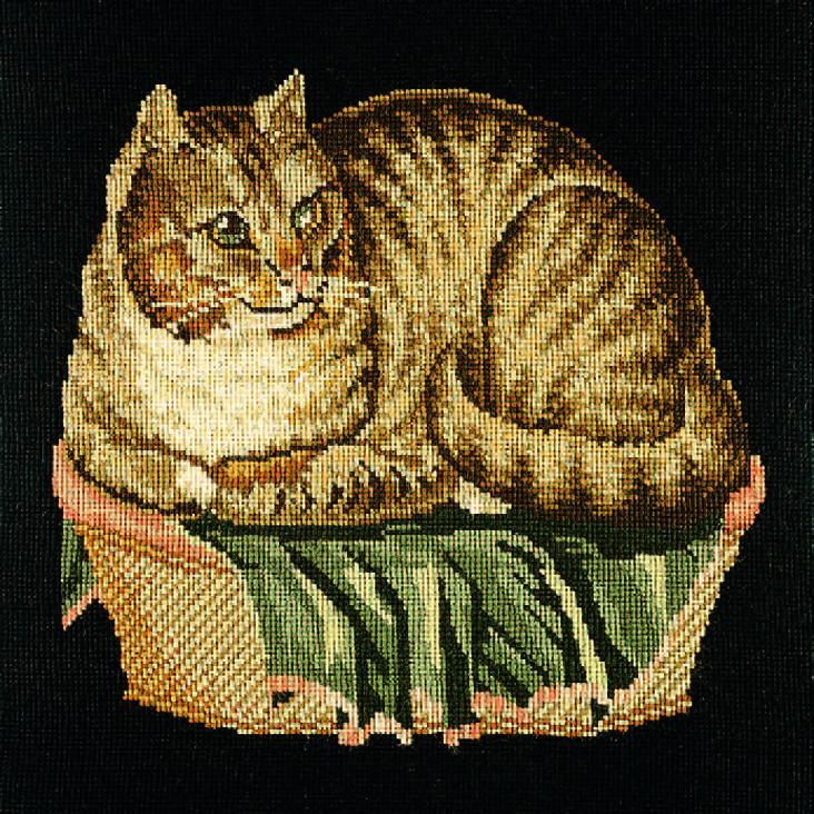 The Contented Cat Needlepoint Kit Elizabeth Bradley Design Black