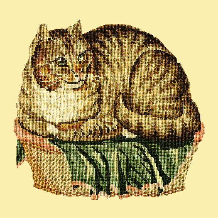 The Contented Cat Needlepoint Kit Elizabeth Bradley Design Butter Yellow