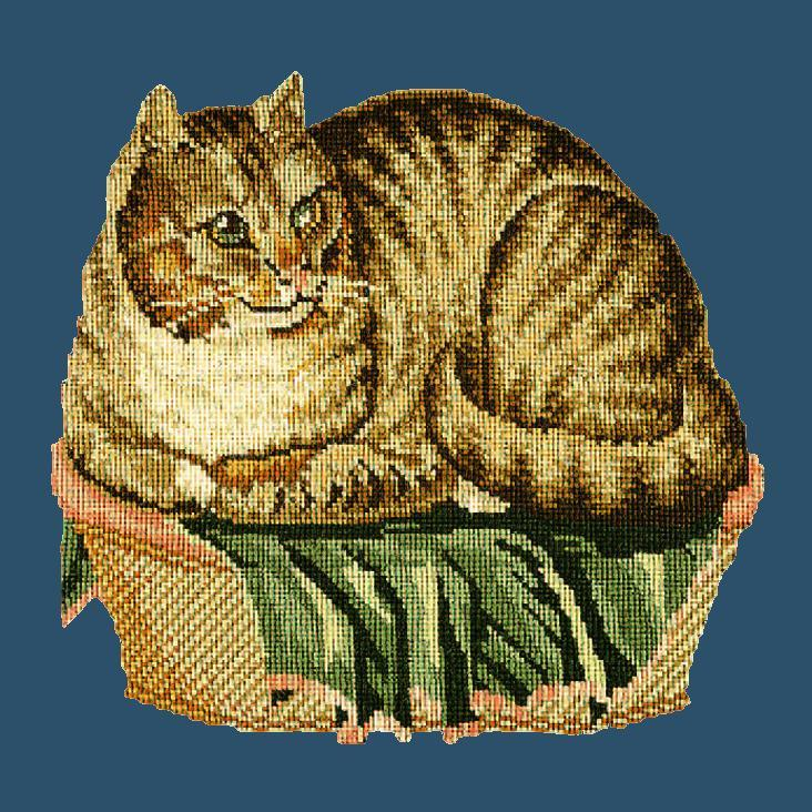 The Contented Cat Needlepoint Kit Elizabeth Bradley Design Dark Blue