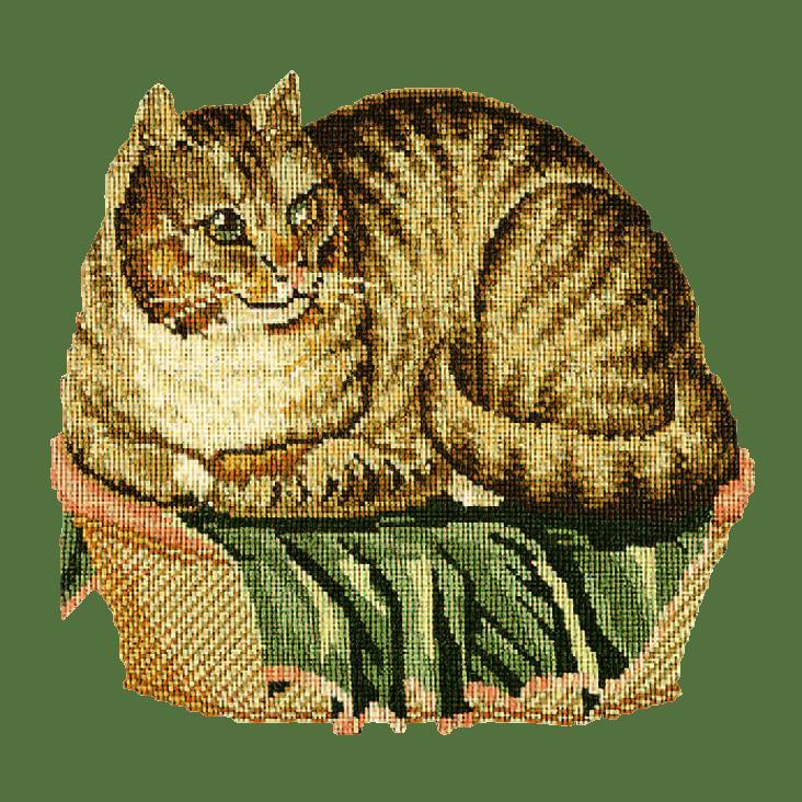 The Contented Cat Needlepoint Kit Elizabeth Bradley Design Dark Green