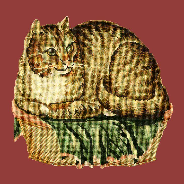 The Contented Cat Needlepoint Kit Elizabeth Bradley Design Dark Red