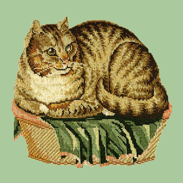 The Contented Cat Needlepoint Kit Elizabeth Bradley Design Pale Green