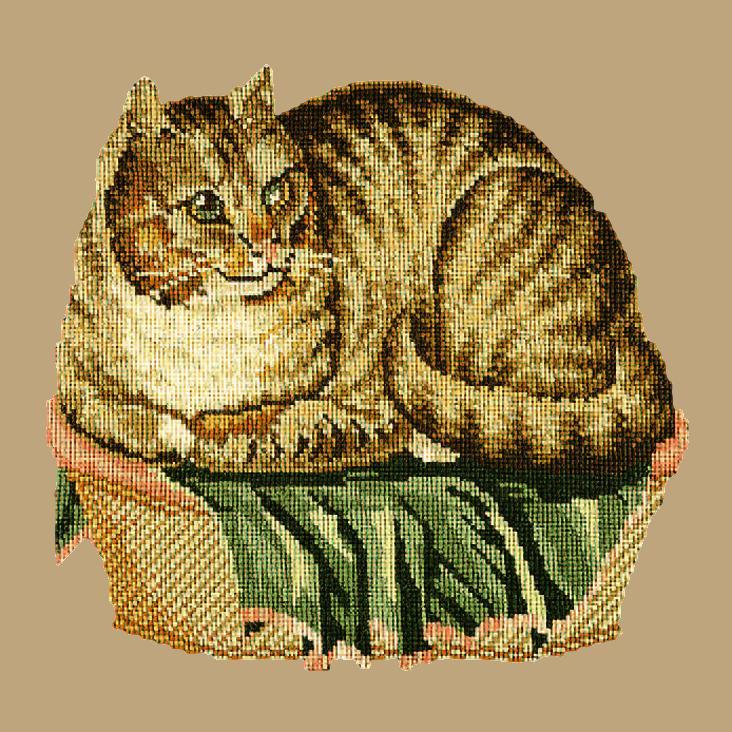 The Contented Cat Needlepoint Kit Elizabeth Bradley Design Sand