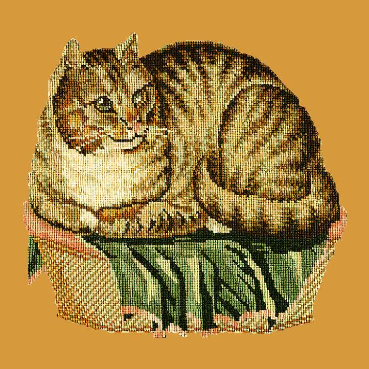 The Contented Cat Needlepoint Kit Elizabeth Bradley Design Yellow