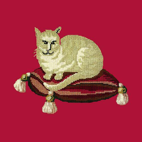 The Cream Cat Needlepoint Kit Elizabeth Bradley Design Bright Red
