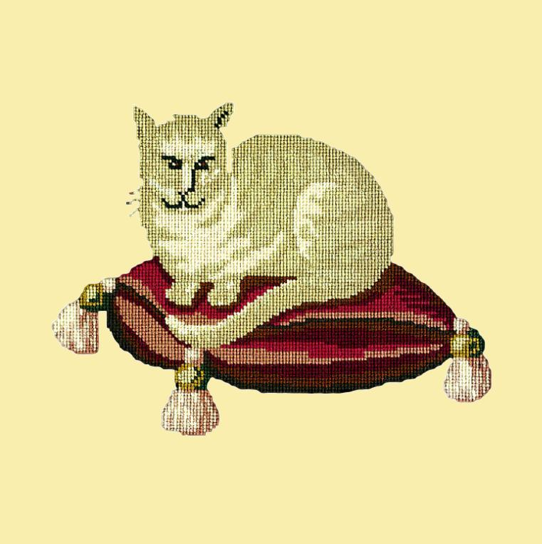 The Cream Cat Needlepoint Kit Elizabeth Bradley Design Butter Yellow