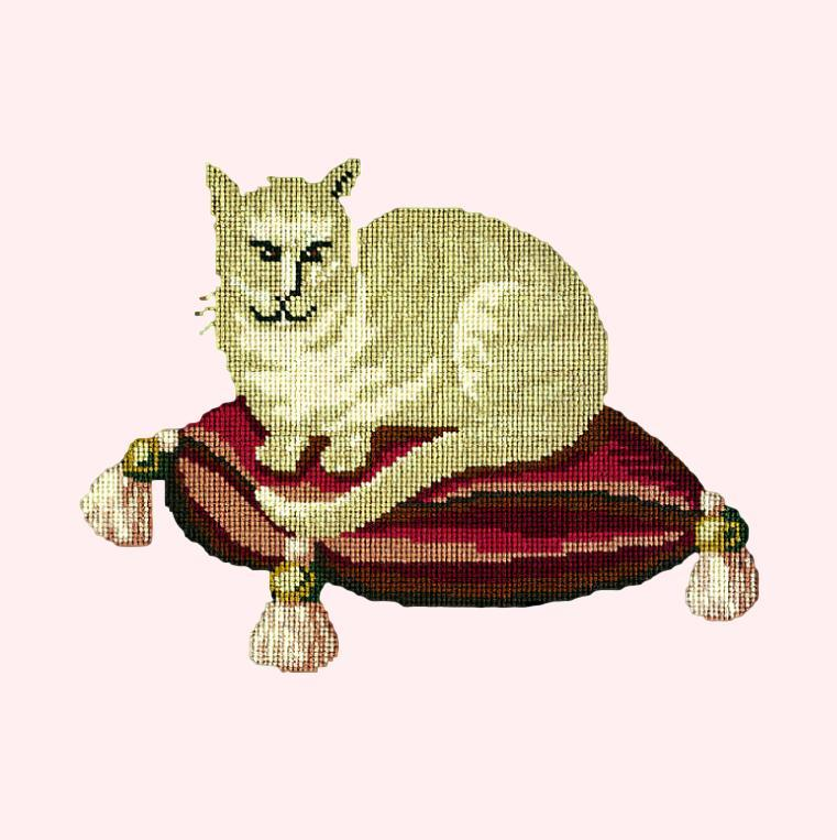 The Cream Cat Needlepoint Kit Elizabeth Bradley Design Cream