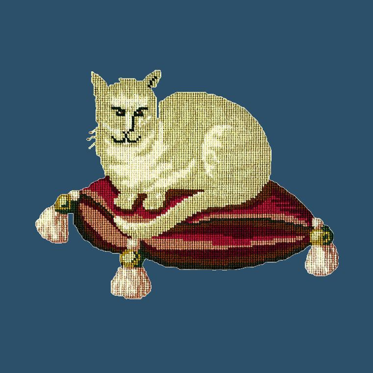The Cream Cat Needlepoint Kit Elizabeth Bradley Design Dark Blue