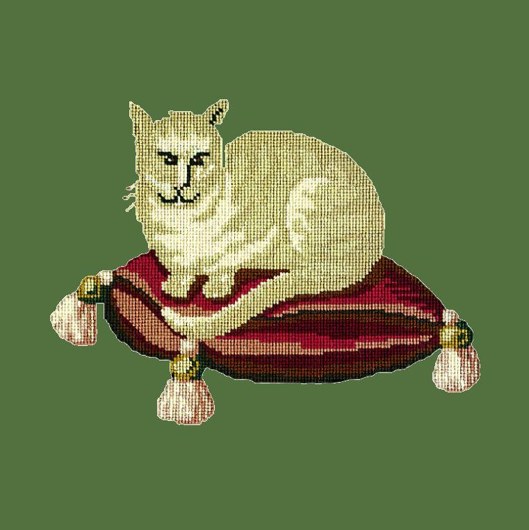 The Cream Cat Needlepoint Kit Elizabeth Bradley Design Dark Green