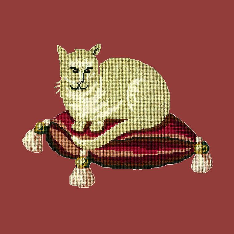 The Cream Cat Needlepoint Kit Elizabeth Bradley Design Dark Red