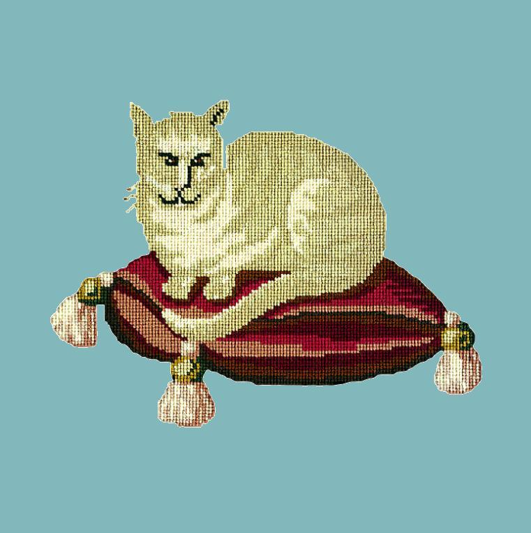 The Cream Cat Needlepoint Kit Elizabeth Bradley Design Duck Egg Blue