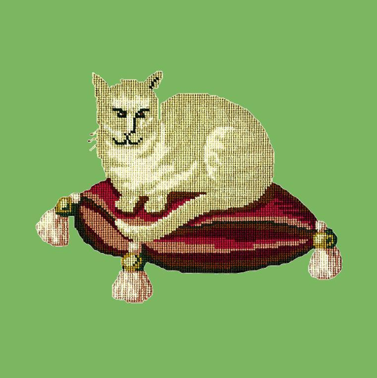 The Cream Cat Needlepoint Kit Elizabeth Bradley Design Grass Green