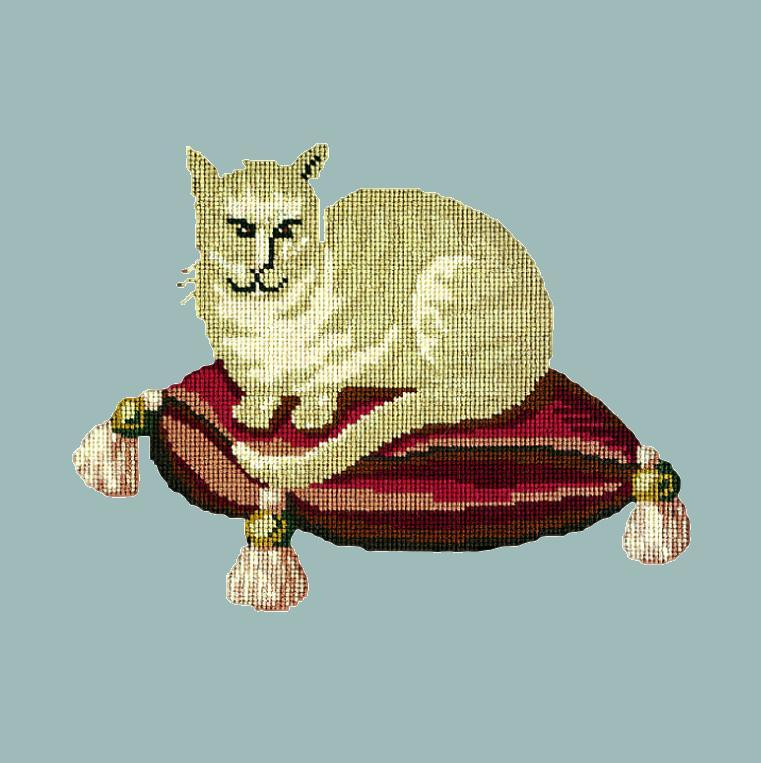 The Cream Cat Needlepoint Kit Elizabeth Bradley Design Pale Blue