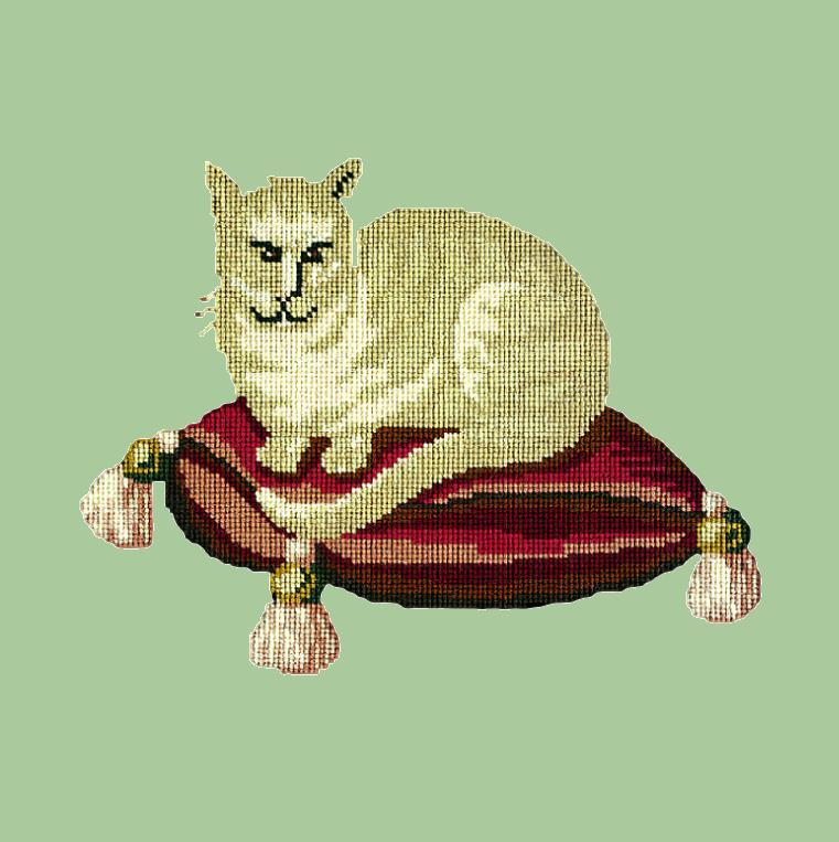 The Cream Cat Needlepoint Kit Elizabeth Bradley Design Pale Green