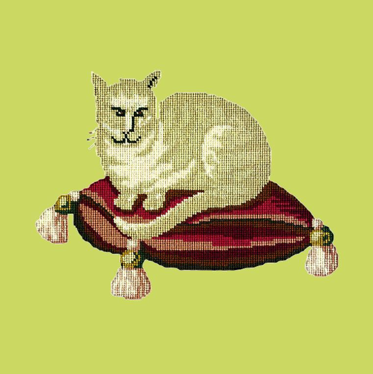 The Cream Cat Needlepoint Kit Elizabeth Bradley Design Pale Lime