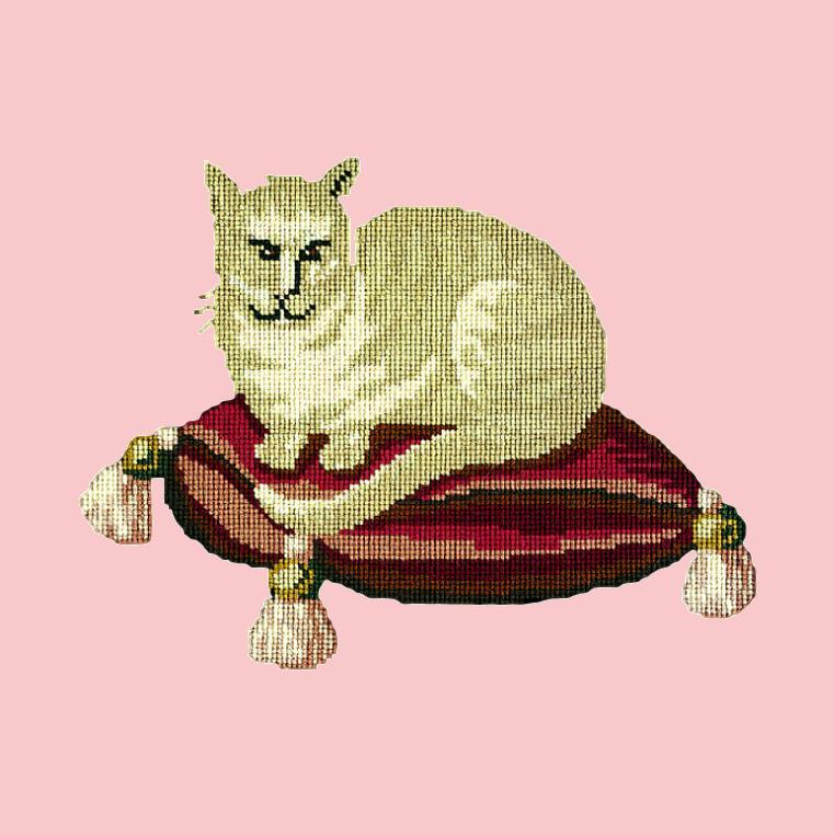 The Cream Cat Needlepoint Kit Elizabeth Bradley Design Pale Rose
