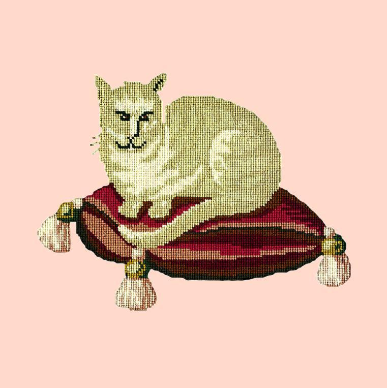 The Cream Cat Needlepoint Kit Elizabeth Bradley Design Salmon Pink